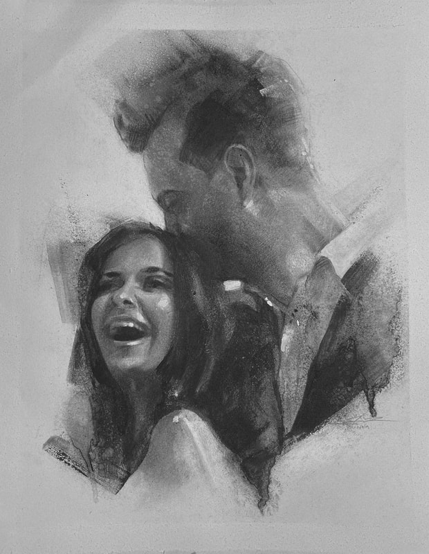 This black and white charcoal portrait by James Thomas was of a newly engaged couple in South Australia. The gentleman wanted a nice gift to give to his lovely soon-to-be wife in tribute.