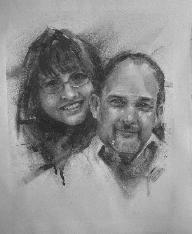 This charcoal portrait by James Thomas was a gift to the featured couple from commissioned by the distant father-in-law.