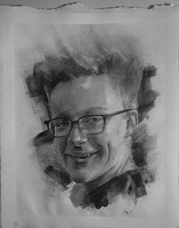 This black and white charcoal portrait, by James Thomas, was made a Christmas gift to this young man's proud grandparents.