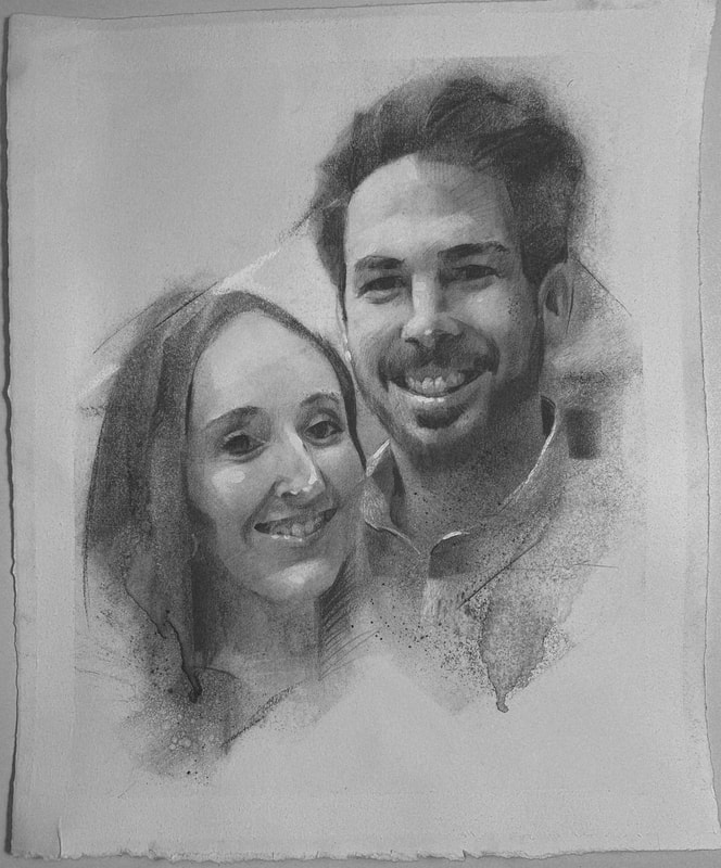 This couples' charcoal portrait, by James Thomas, was made as a gift to each other to hang with love in their house in Southern Australia.