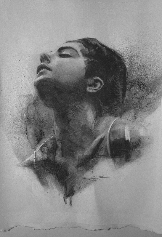 This beautiful charcoal portrait, done by James Thomas, was done in honor of the photographer Marie Killen and one of her several models that she photographs.